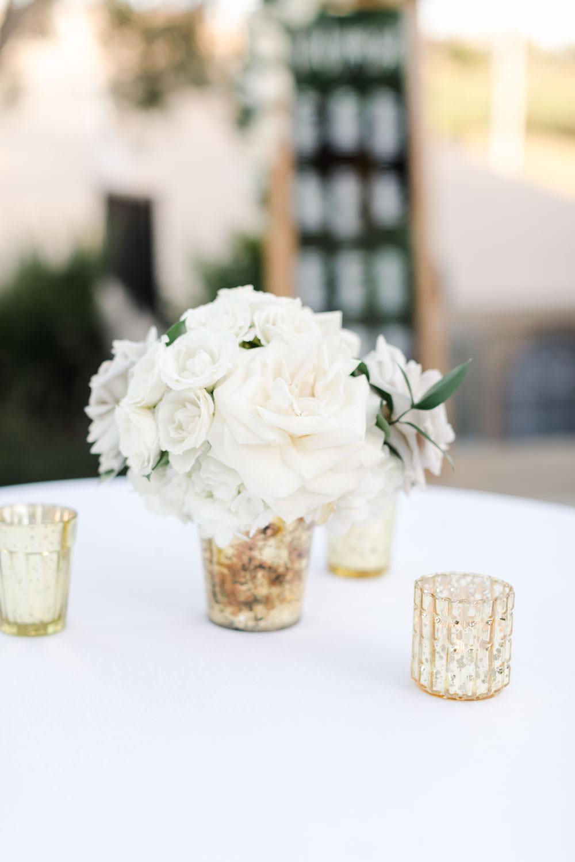 Cocktail hour white and lavender flower arrangement, Cavin ELizabeth Photography