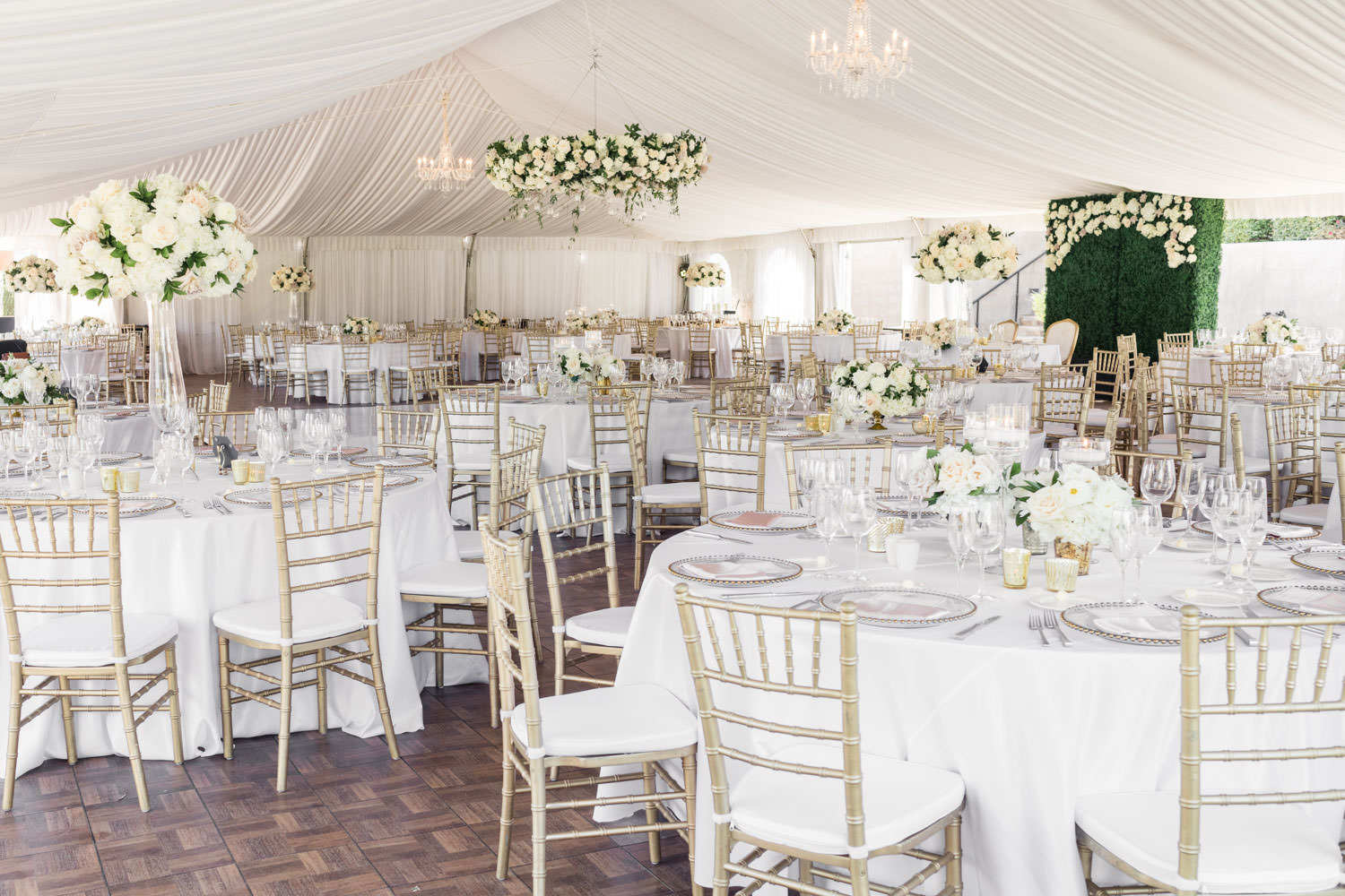 Elegant and classic luxury white and green wedding reception at Santaluz Club, Cavin Elizabeth Photography