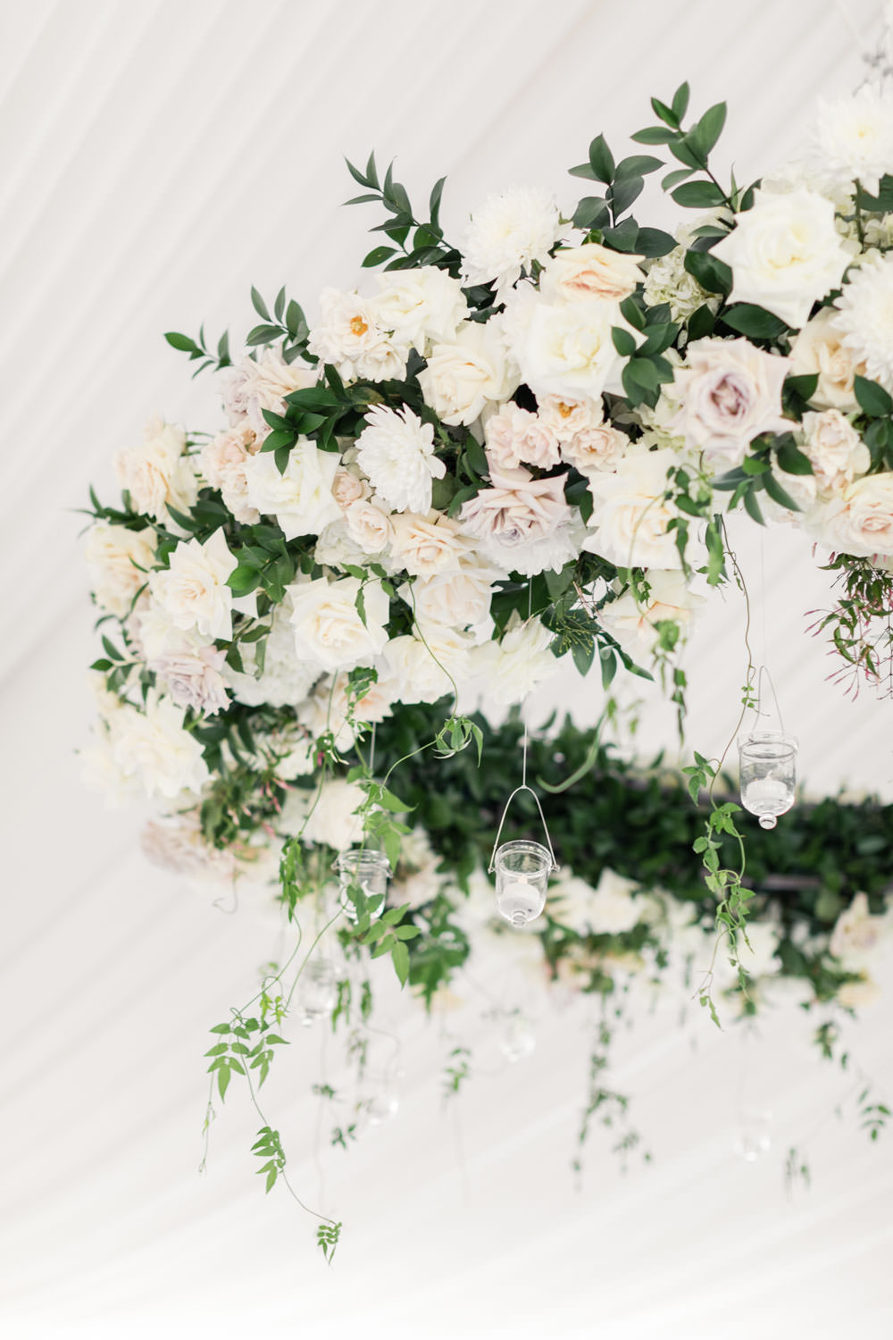 Floral chandelier with roses and greenery at the Santaluz Club, Cavin Elizabeth Photography