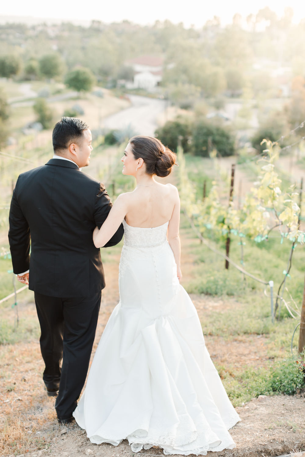 Bride and groom walking in the vineyards, Santalux Club wedding reception, Cavin Elizabeth Photography