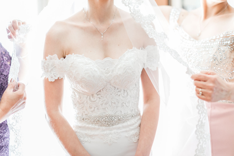 Sweetheart lace Panache Bridal gown, Bride getting ready for her Santaluz Club wedding, Cavin Elizabeth Photography