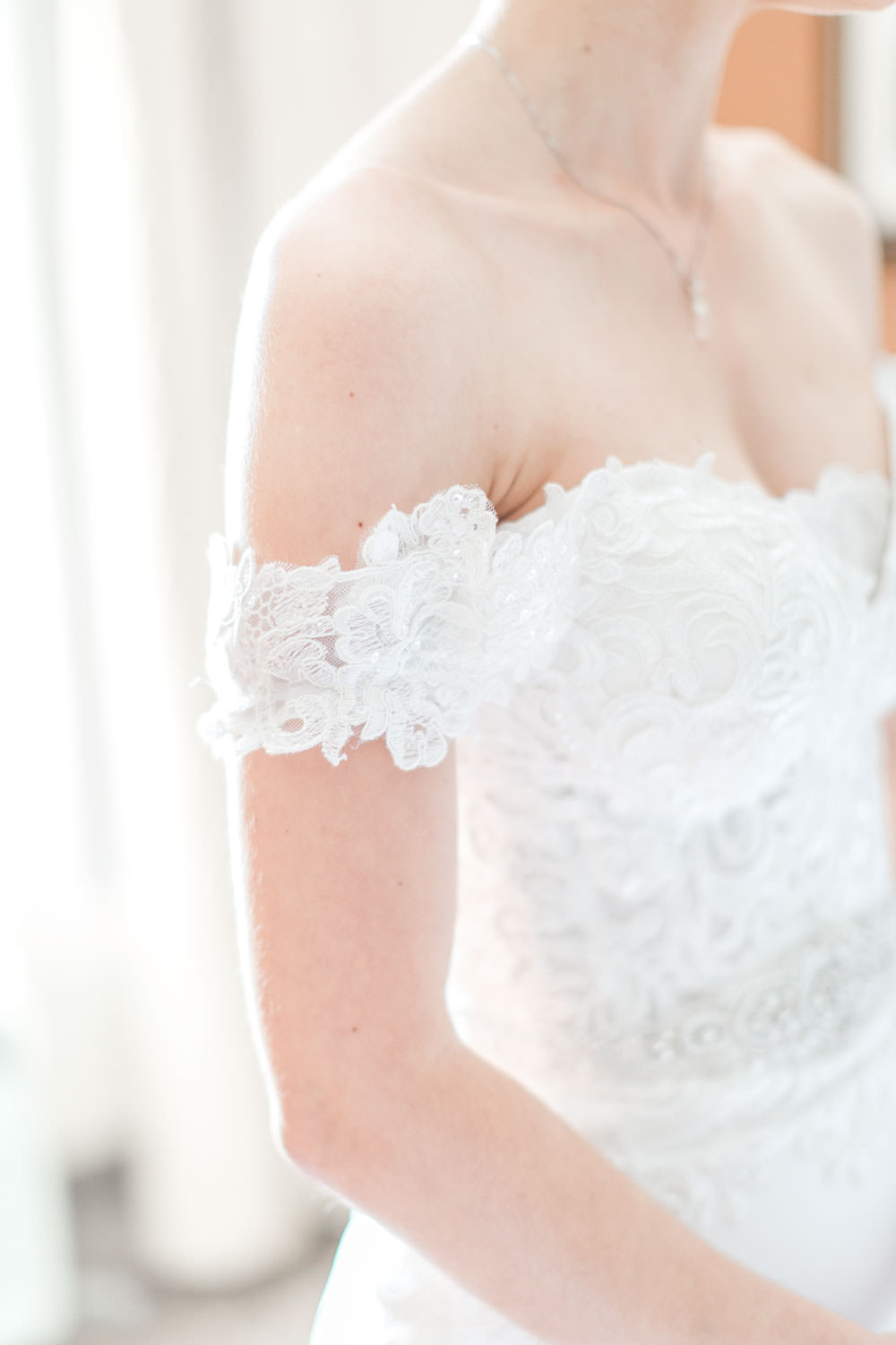 Sweetheart lace Panache Bridal gown, Bride getting ready for her Santaluz Club wedding, Cavin Elizabeth Photography