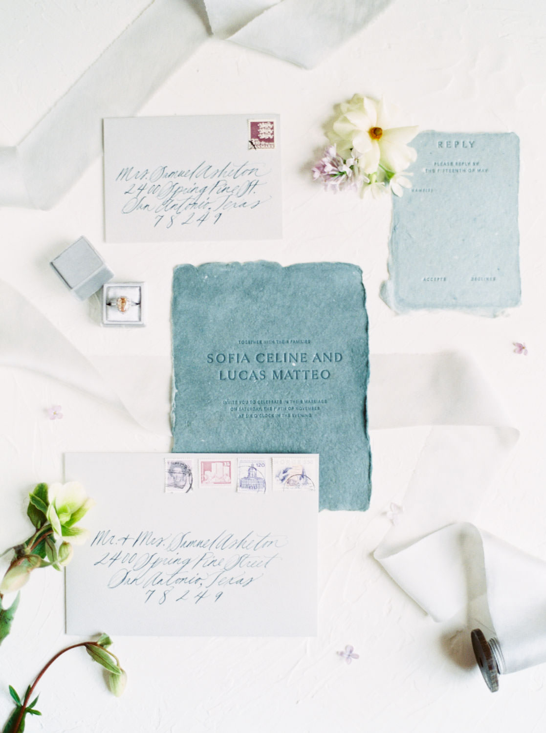 Teal letterpress fine art wedding invitation shot on film, Cavin Elizabeth Photography