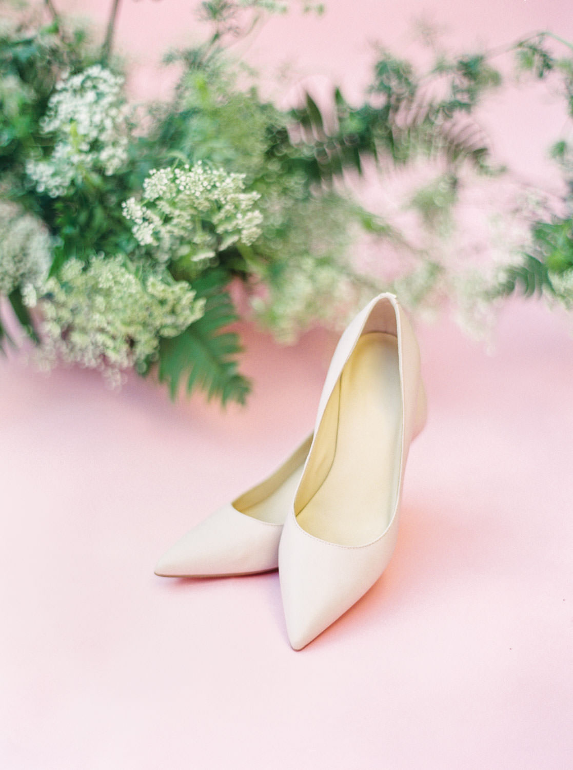Blush wedding heels with ferns, Pink backdrop wedding editorial on medium format Contax 645 Fuji 400h film by Cavin Elizabeth Photography
