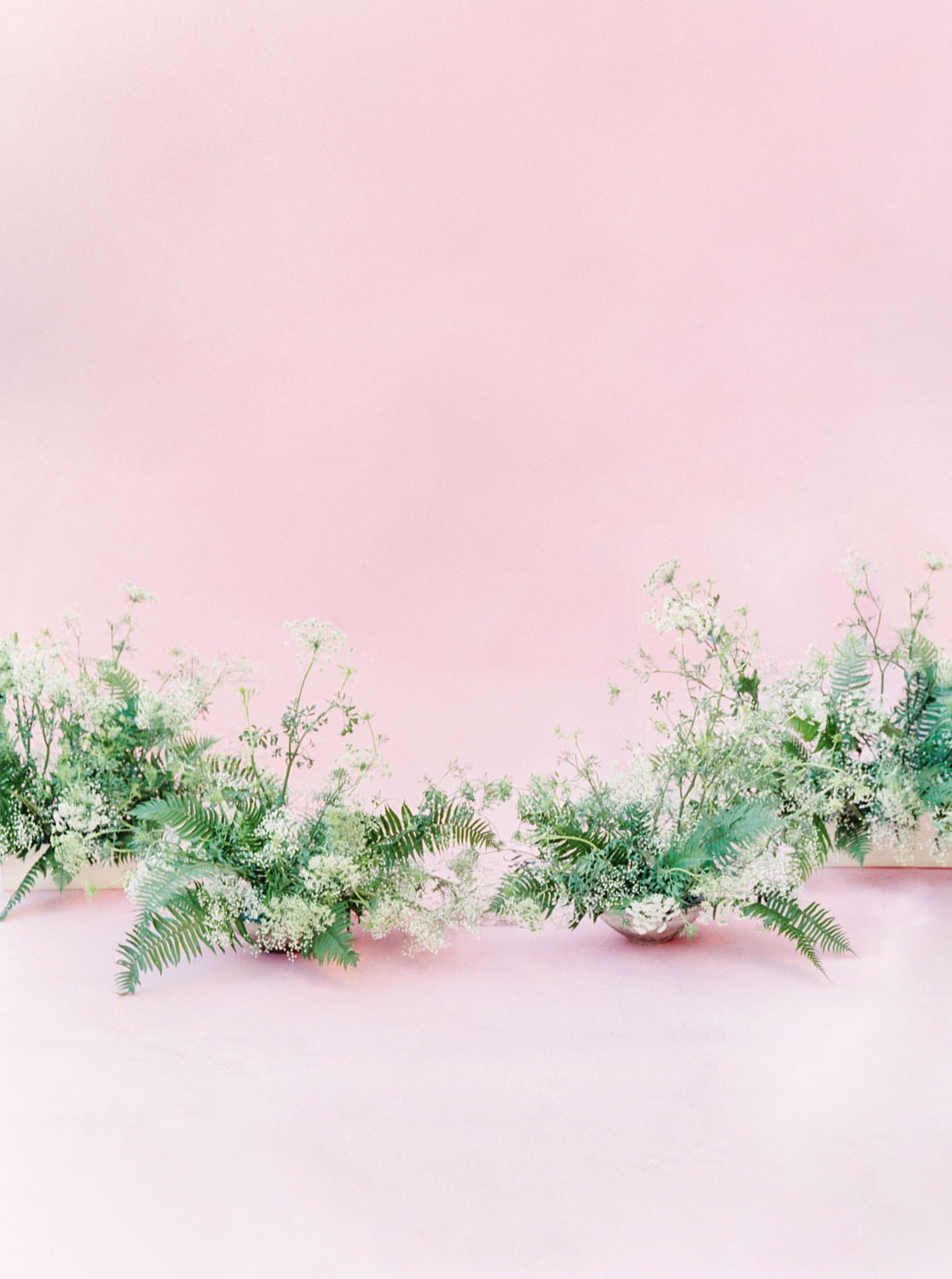 Fern and Queen Anne's lace centerpieces, Pink backdrop wedding editorial on medium format Contax 645 Fuji 400h film by Cavin Elizabeth Photography