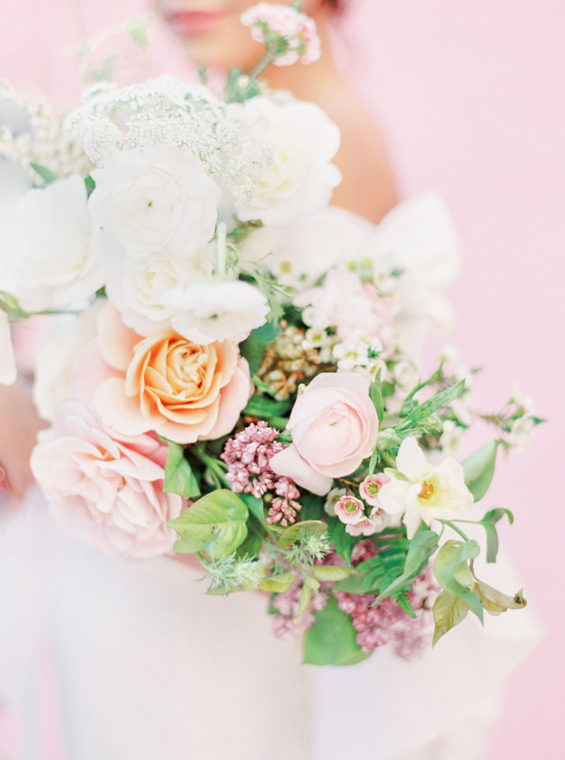 Pink blush peach green and purple bridal bouquet, Pink backdrop wedding editorial on medium format Contax 645 Fuji 400h film by Cavin Elizabeth Photography