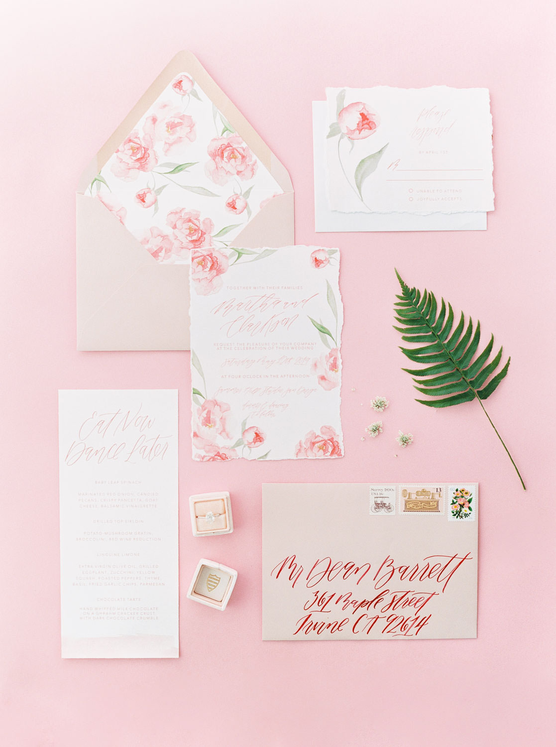 Pink and white and green floral watercolor wedding invitation suite with flower envelope liner, Pink backdrop wedding editorial on medium format Contax 645 Fuji 400h film by Cavin Elizabeth Photography