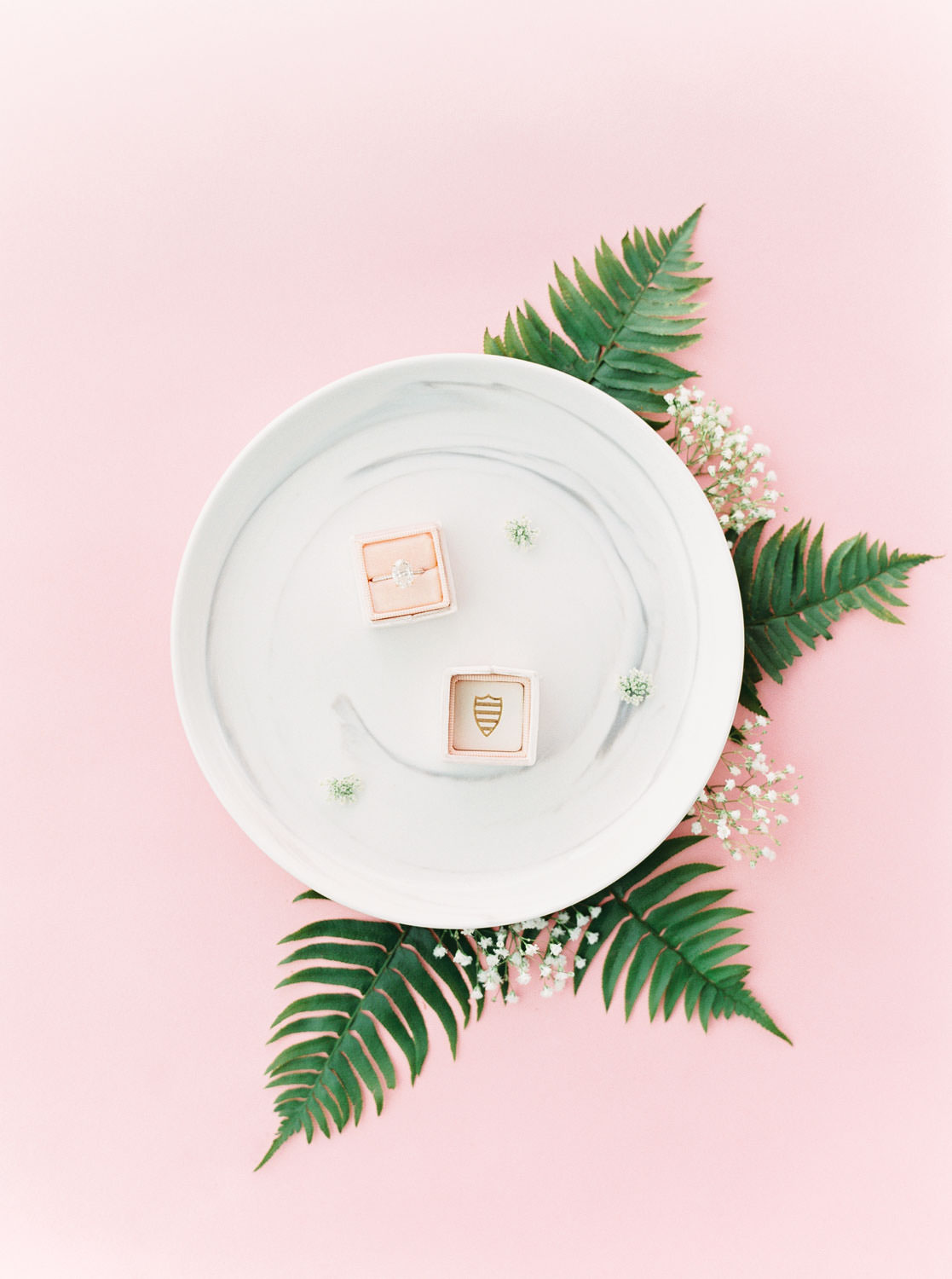 Pink velvet Mrs Box ring box with Jean Dousset Chelsea ring on a marble plate, Pink backdrop wedding editorial on medium format Contax 645 Fuji 400h film by Cavin Elizabeth Photography