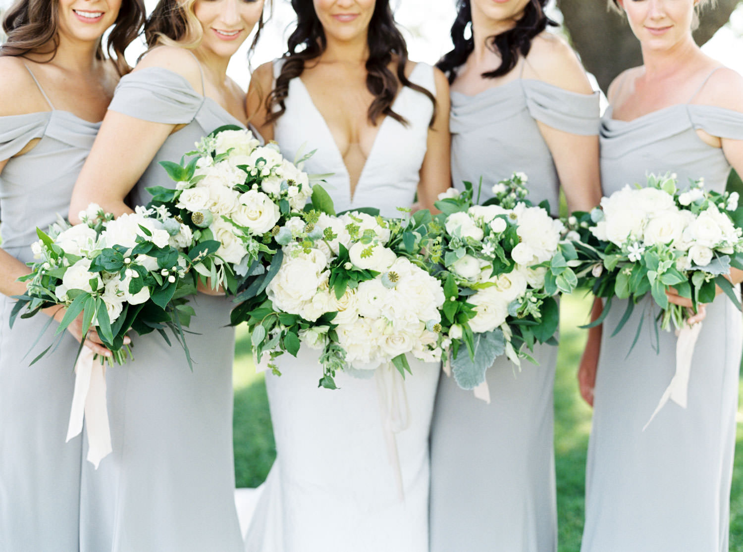 Bridesmaids in grey lavender gowns with bride portrait with white and green bouquet with trailing ribbons captured on medium format film, Cavin Elizabeth Photography
