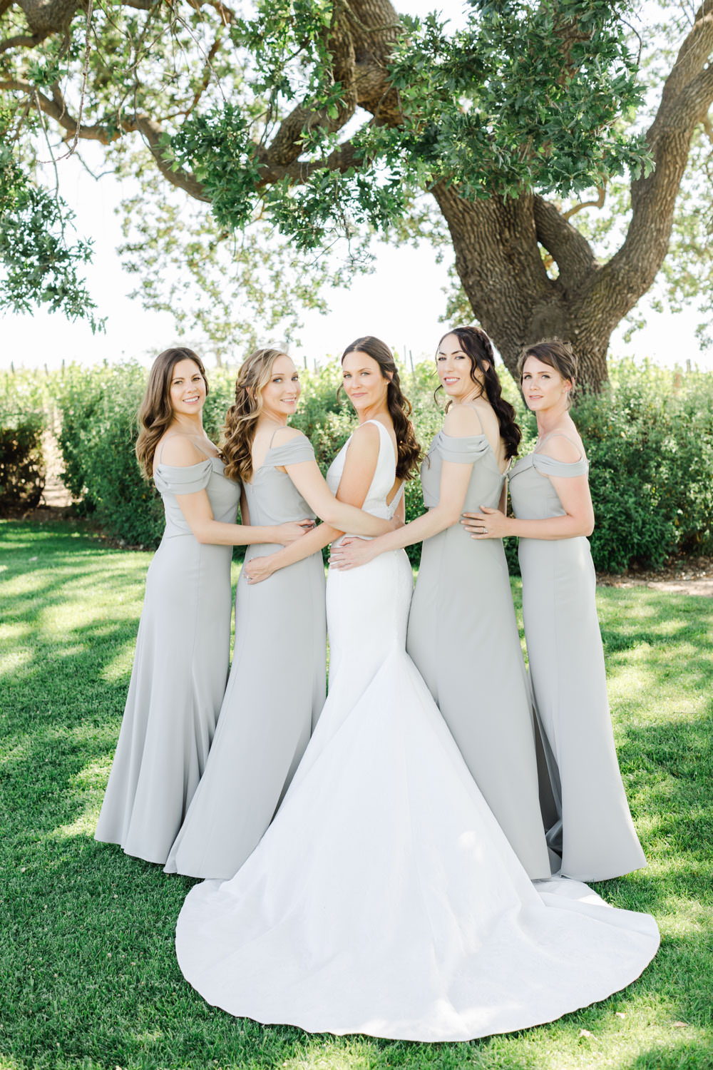 Bridesmaids in grey lavender gowns with bride portrait, Cavin Elizabeth Photography