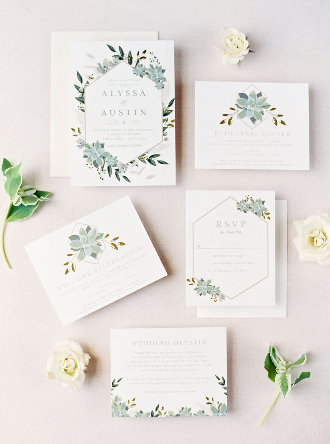 White and green invitation suite from Minted with gold foil, Gainey Vineyards Wedding, Cavin Elizabeth Photography