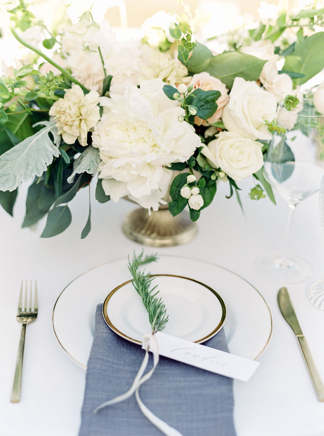 Santa Ynez Gainey Vineyards wedding reception with white linen grey napkins gold votives and white and green floral arrangements, Cavin Elizabeth Photography