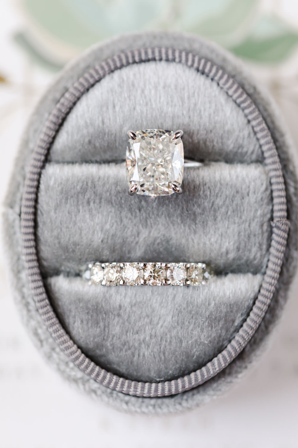 Grey velvet oval ring box with cushion cut diamond, Gainey Vineyards Wedding, Cavin Elizabeth Photography
