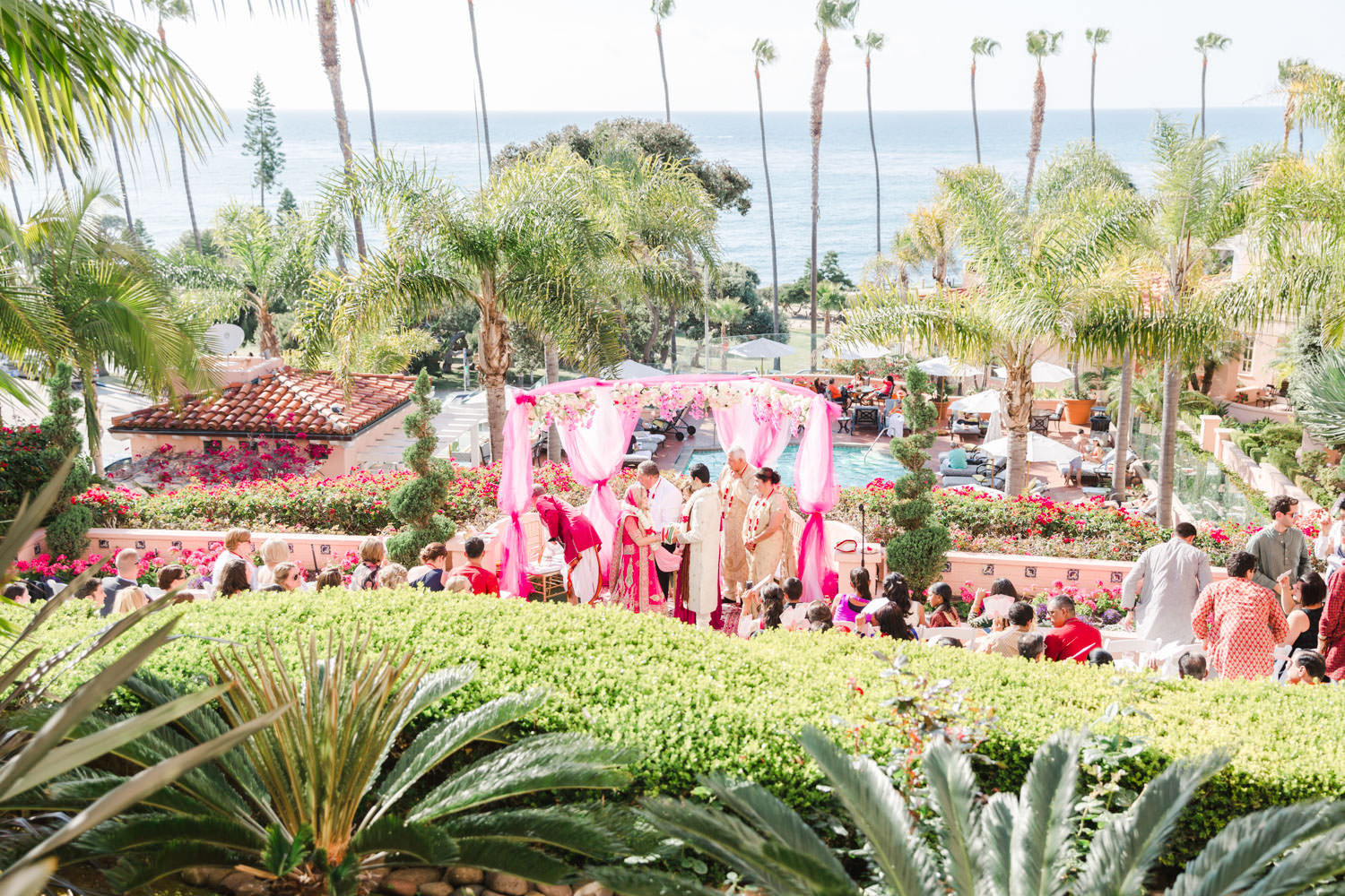 La Valencia Wedding Venue Ceremony in El Jardin, Cavin Elizabeth Photography