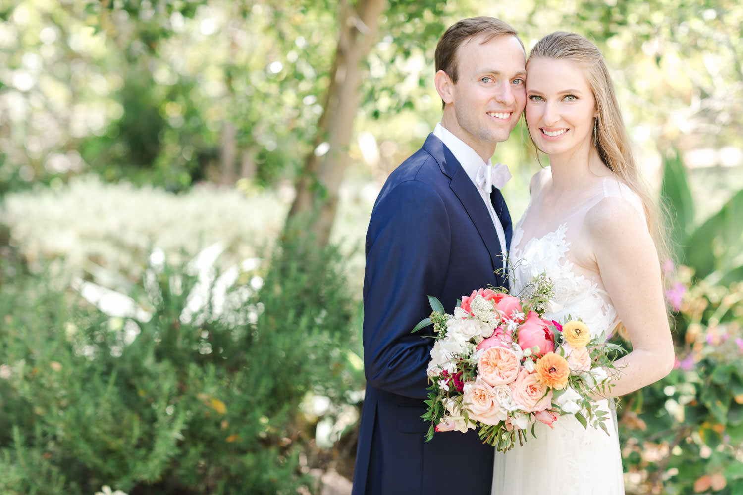 San Diego Botanic Garden Wedding bride and groom portrait captured on film, Cavin Elizabeth Photography