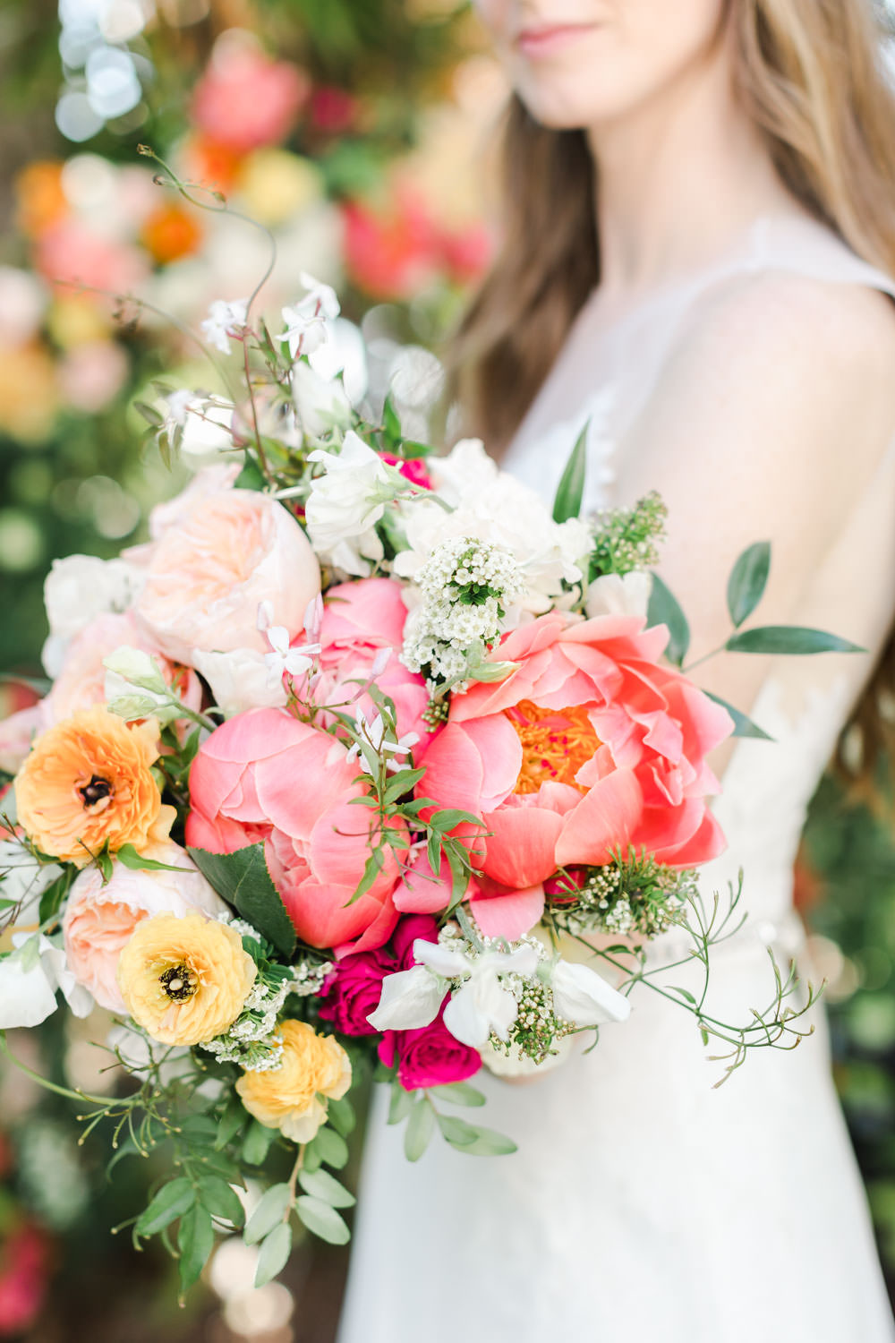 Bridal bouquet with pink peach yellow and green, Cavin Elizabeth Photography