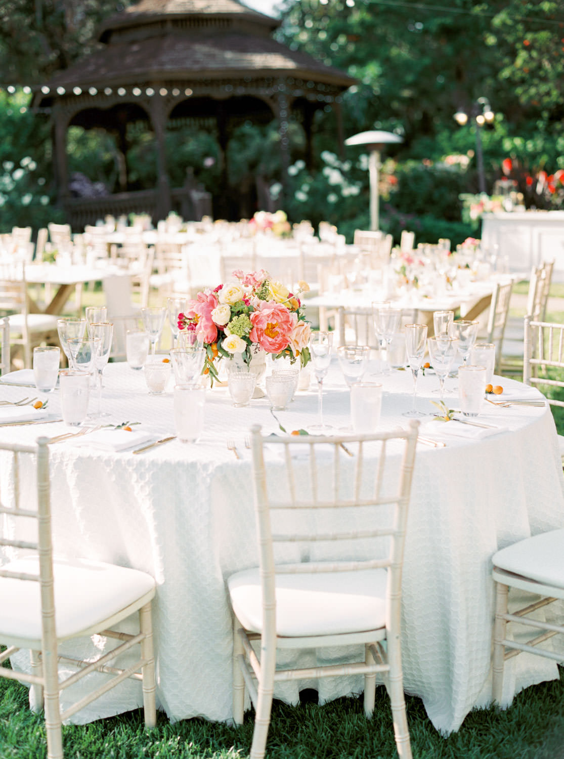 Film photography, San Diego Botanic Garden Wedding reception with pink peach white and green, Cavin Elizabeth Photography
