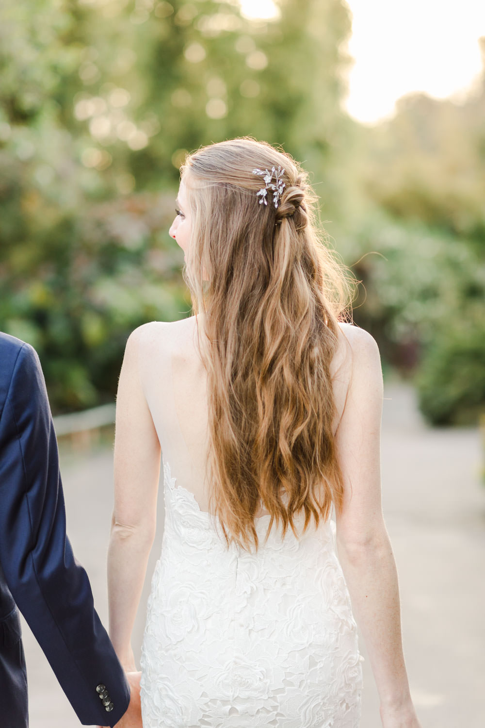 Bridal hair down with half dutch braid, Bride and groom portrait at San Diego Botanical Garden, Cavin Elizabeth Photography