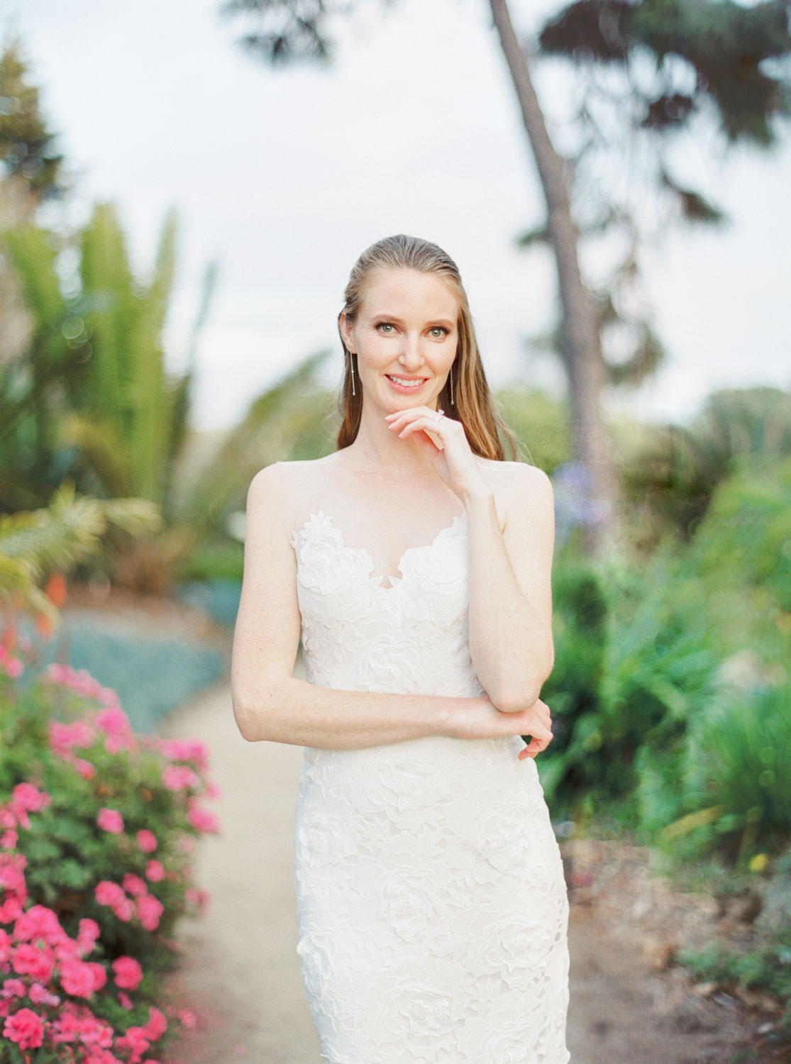 Bridal portrait on medium format film at San Diego Botanical Garden, Cavin Elizabeth Photography