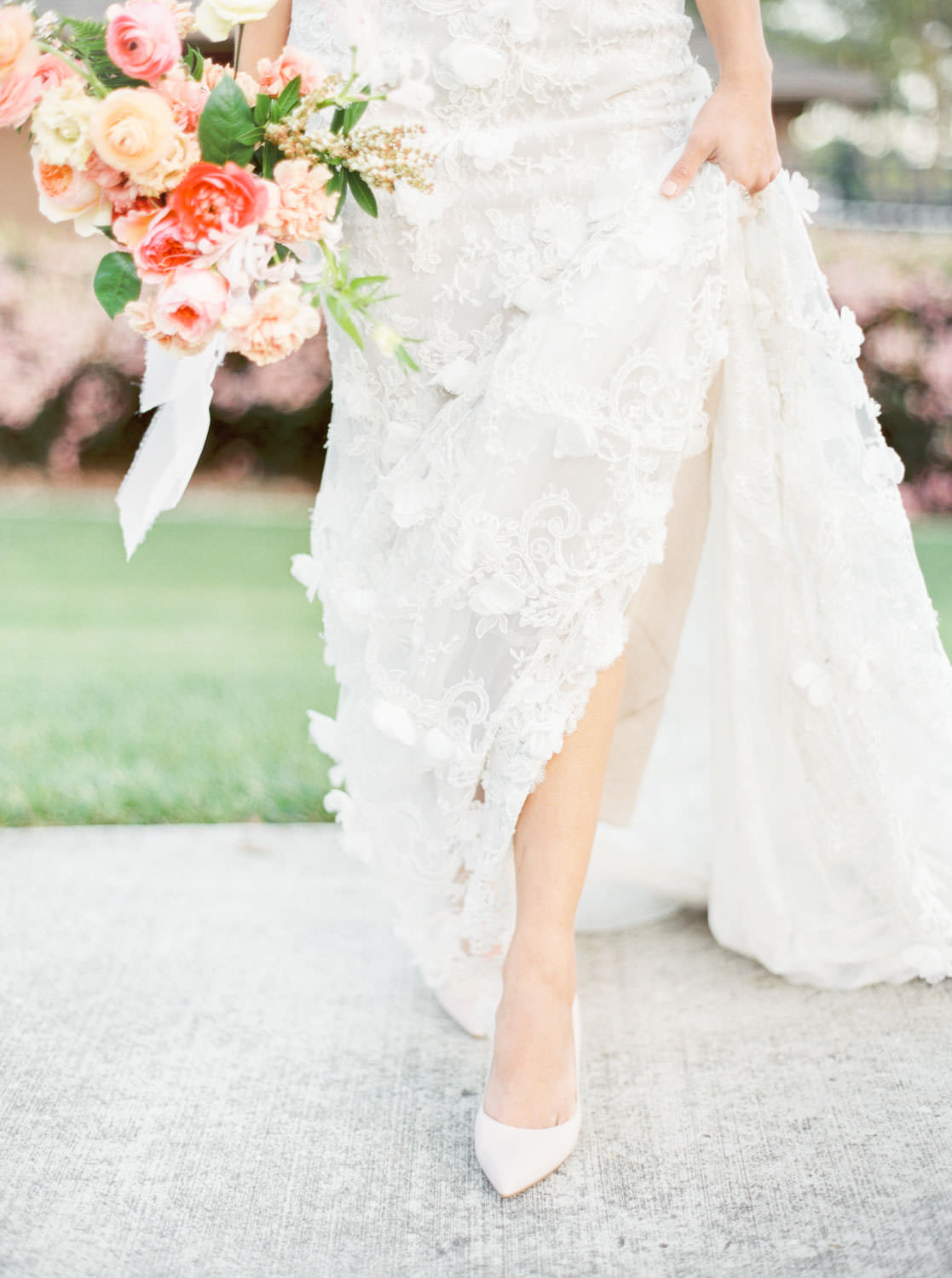 Bride in blush heels and Marchesa Daffodil gown, Bridal bouquet with apricot peach blush pink and green, Film by Cavin Elizabeth Photography