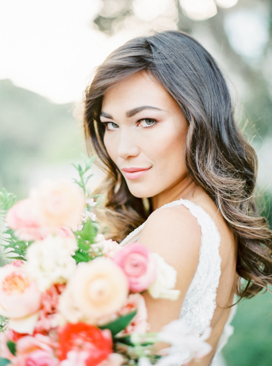 Natural wedding makeup and hair down, San Diego bridal portraits at a private estate, Bride in Marchesa Daffodil gown, Bridal bouquet with apricot peach blush pink and green, Film by Cavin Elizabeth Photography