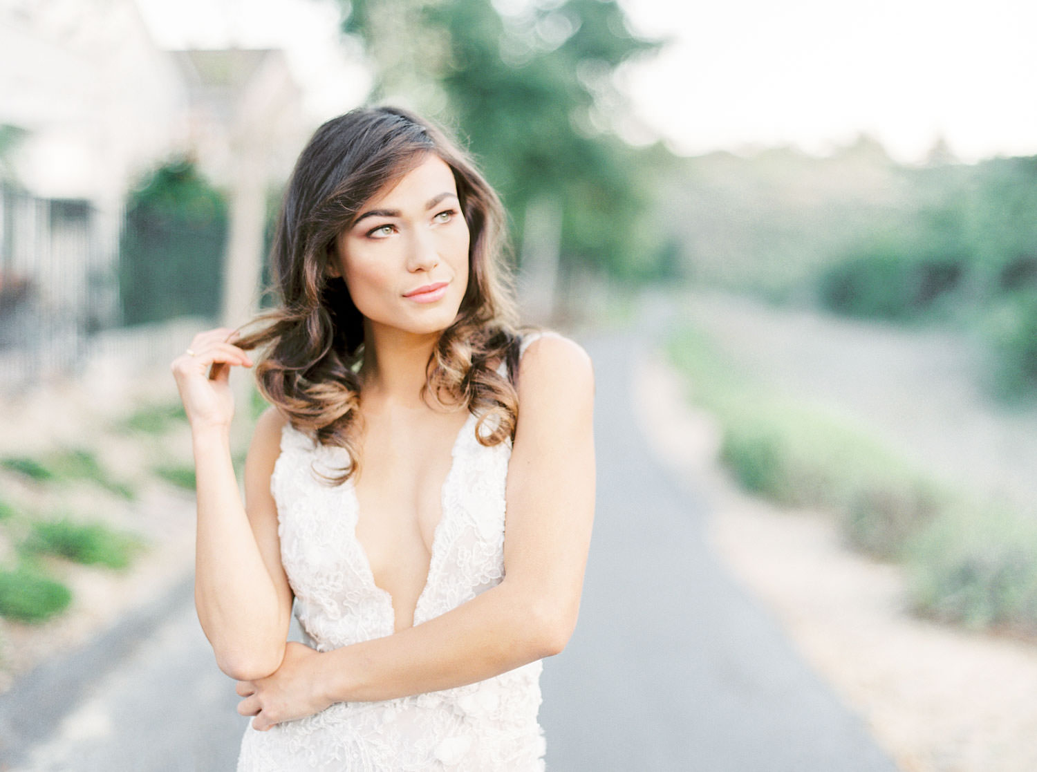 San Diego bridal portraits at a private estate, Bride in Marchesa Daffodil gown, Film by Cavin Elizabeth Photography