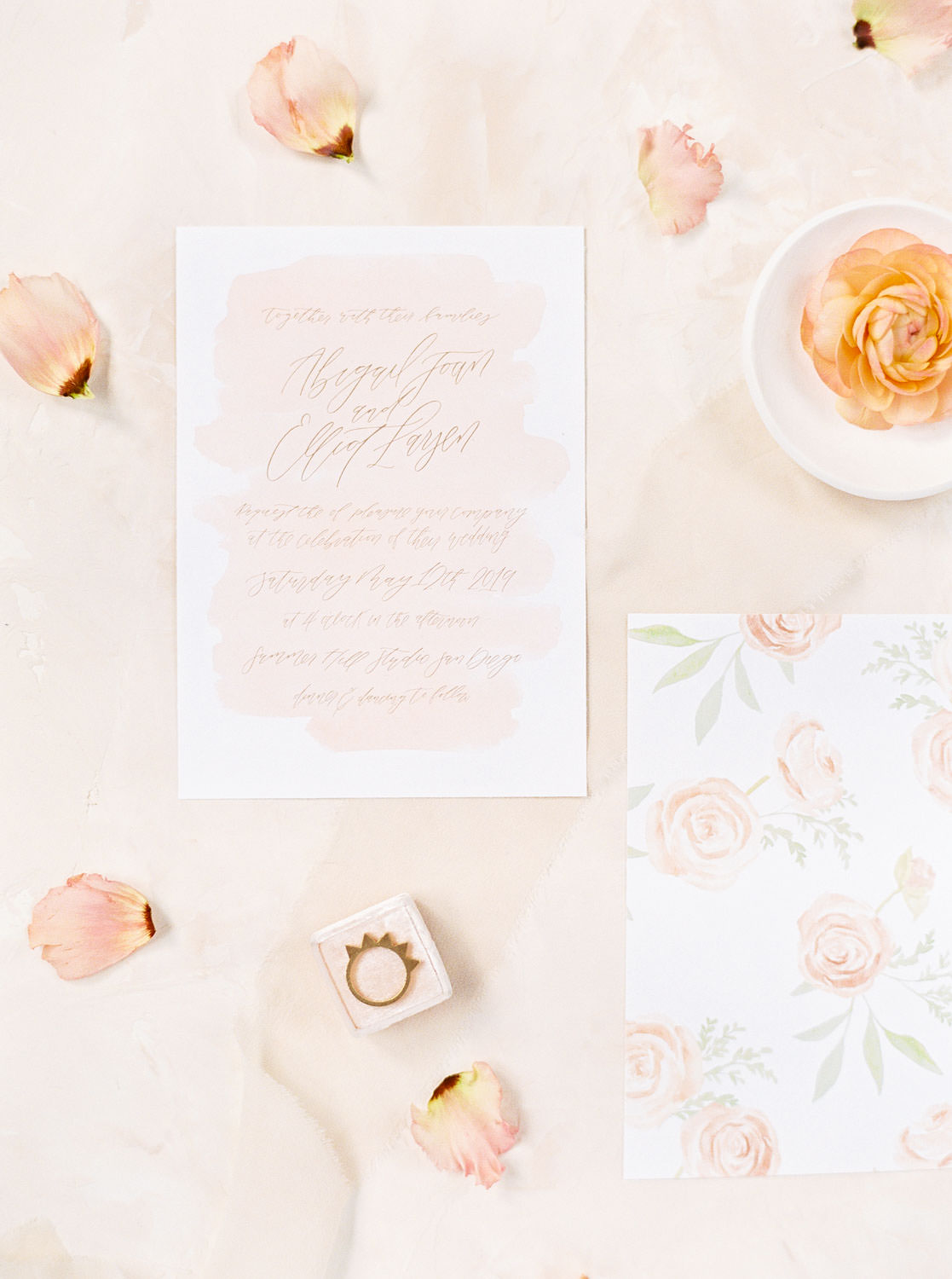 Apricot and blush wedding invitation suite with calligraphy butterfly stamps and flowers, Film by Cavin Elizabeth Photography