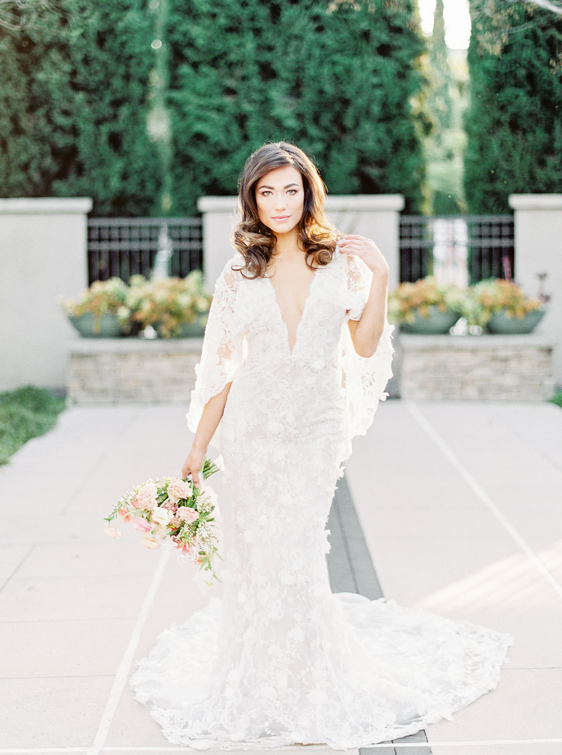 San Diego bridal portraits, Bride in Marchesa Daffodil gown, Bridal bouquet with apricot peach blush pink and green, Film by Cavin Elizabeth Photography
