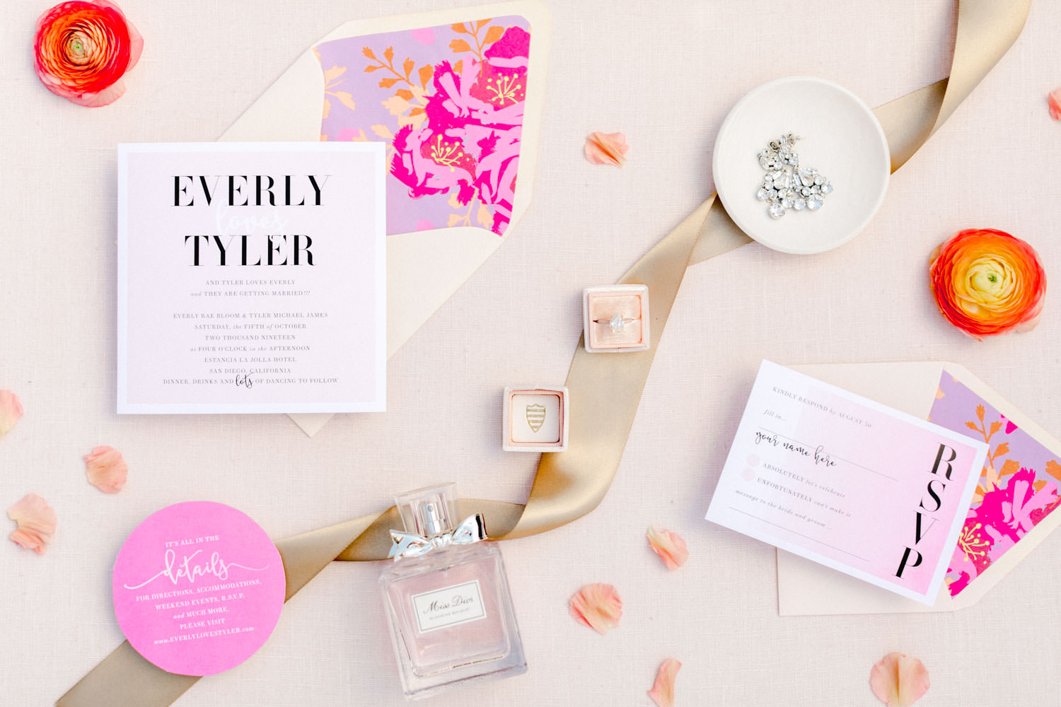 Pink purple and ivory wedding invitation suite with floral envelope liner, Wedding at Estancia La Jolla