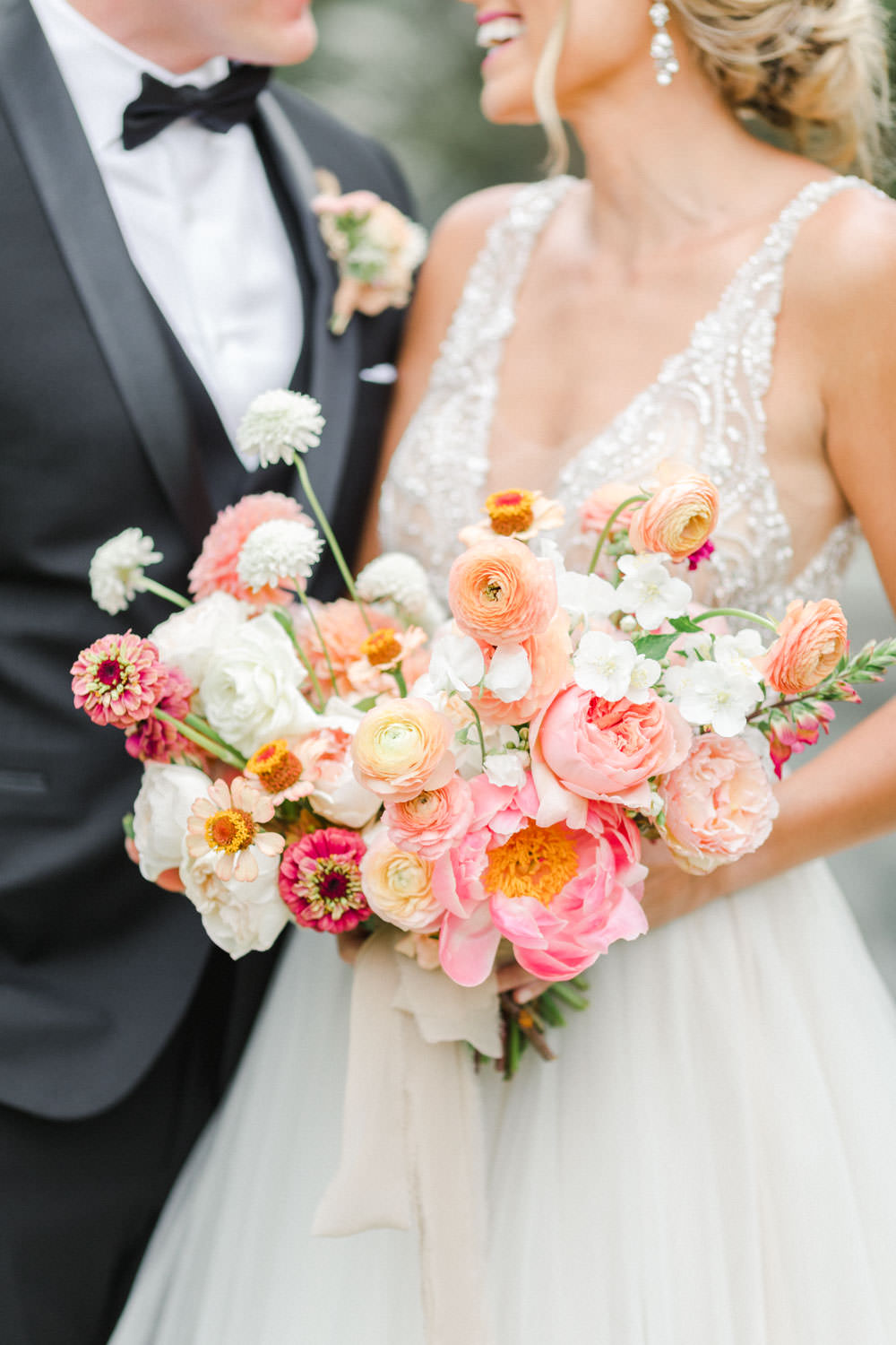Pink peach violet and white bridal bouquet, Wedding at Estancia La Jolla, Cavin Elizabeth Photography