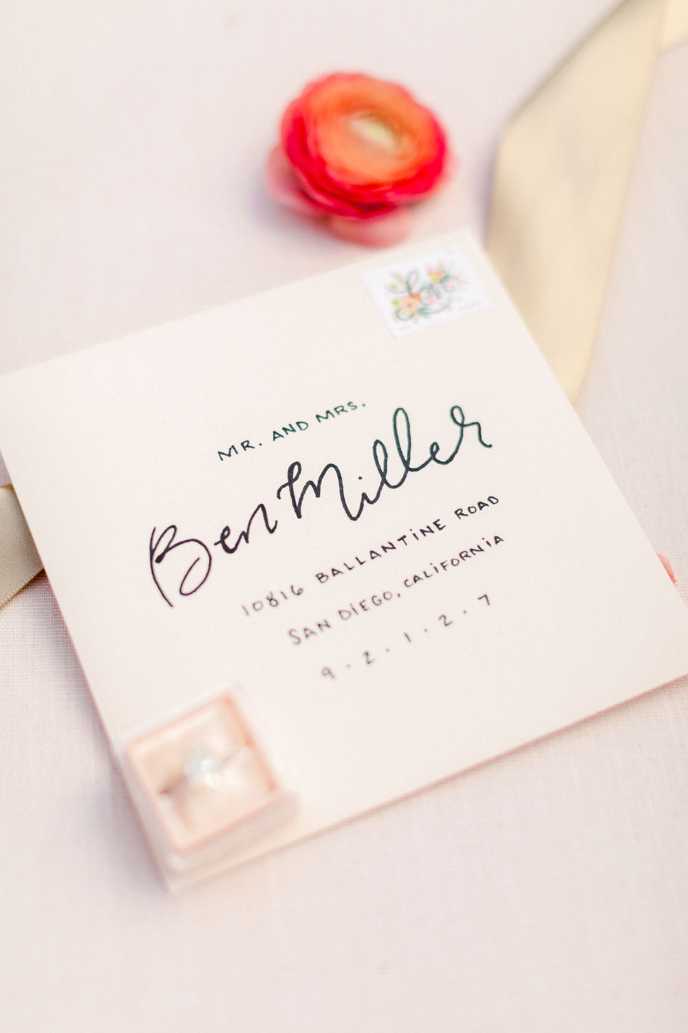 Calligraphy and written print wedding invitation envelope, Wedding at Estancia La Jolla