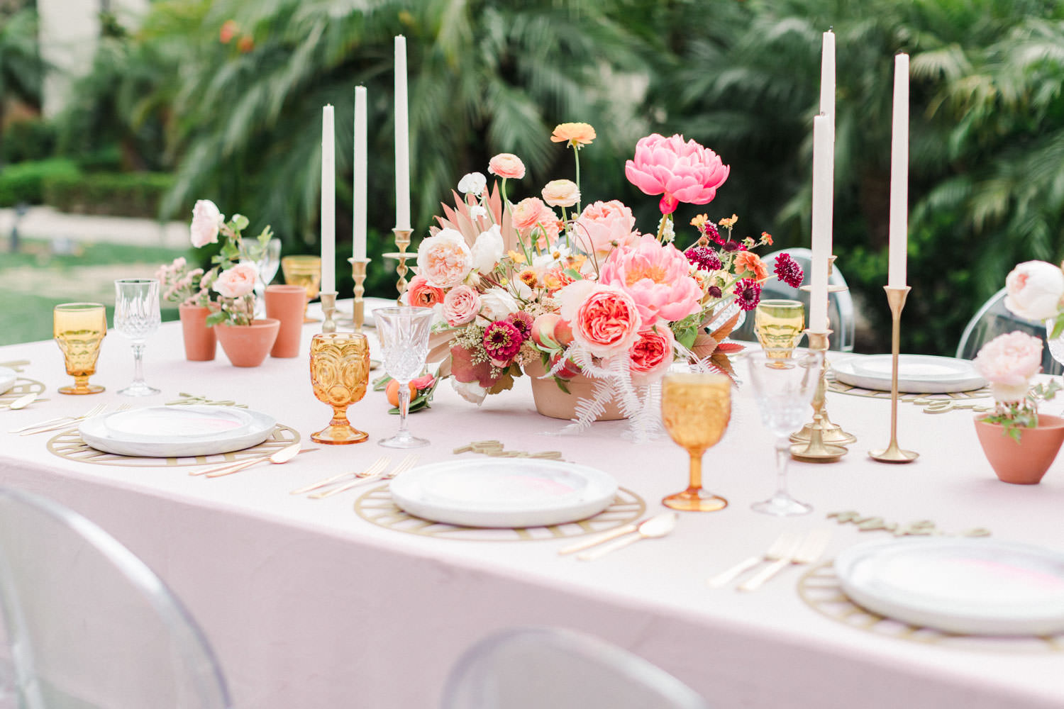 Rose quartz velvet linen table with orange glassware and marble dinnerware, Pink peach violet and white floral arrangement, Wedding at Estancia La Jolla, Cavin Elizabeth Photography