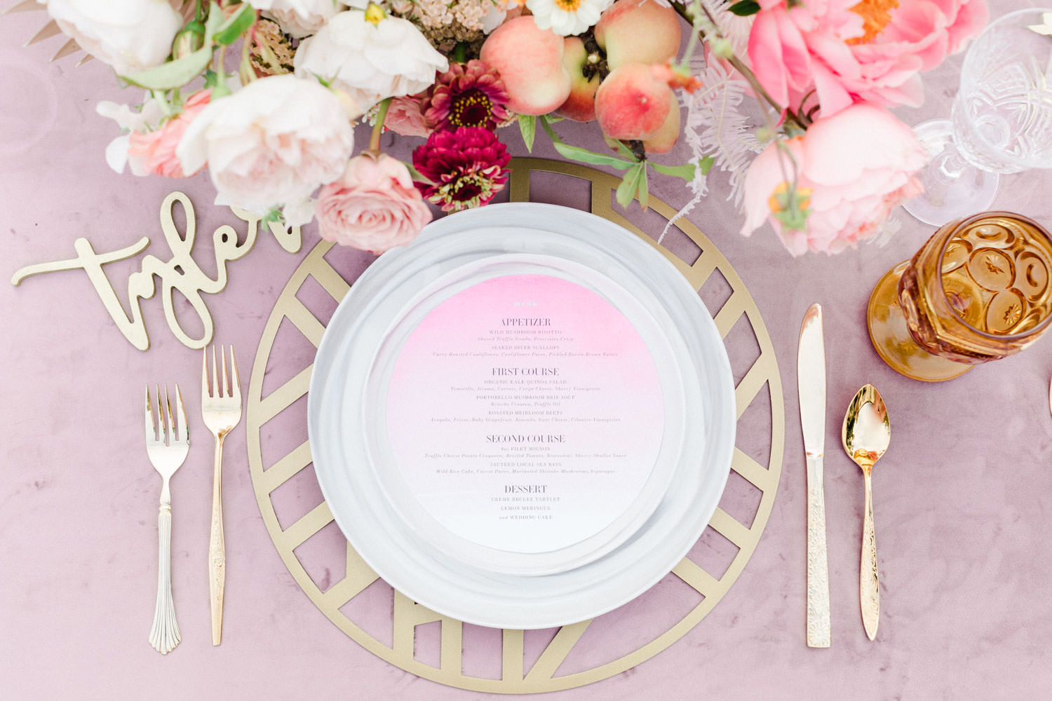 Ombre pink menu, Gold laser cut wooden name card place setting, Rose quartz velvet linen table with orange glassware and marble dinnerware, Pink peach violet and white floral arrangement, Wedding at Estancia La Jolla, Cavin Elizabeth Photography