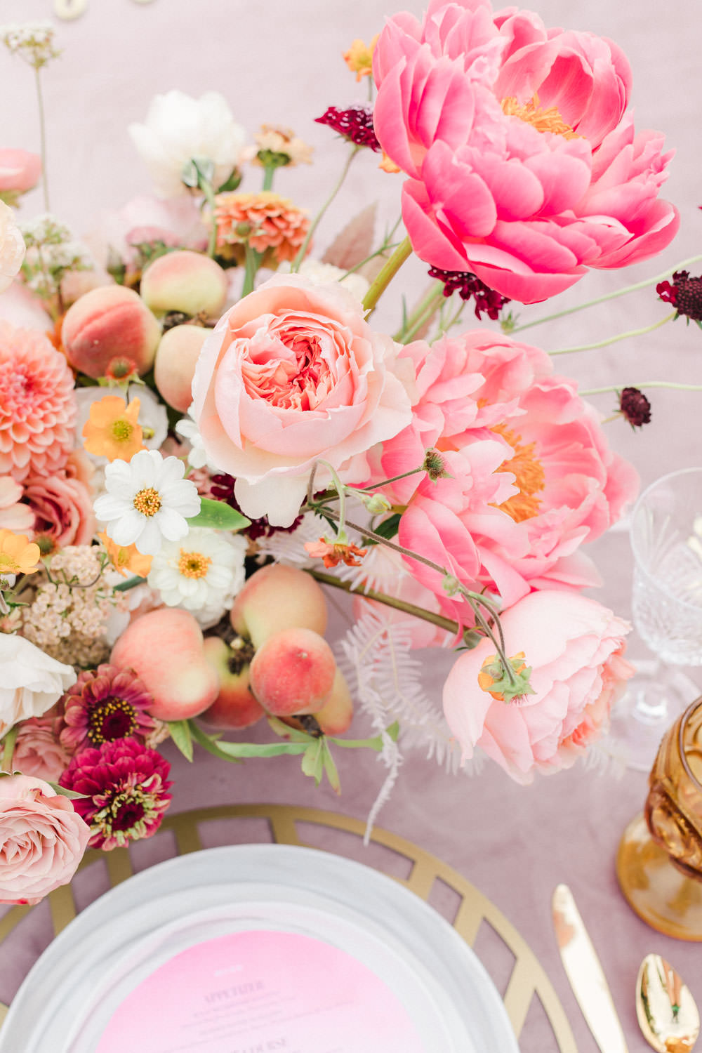 Pink peach violet and white floral arrangement, Wedding at Estancia La Jolla, Cavin Elizabeth Photography