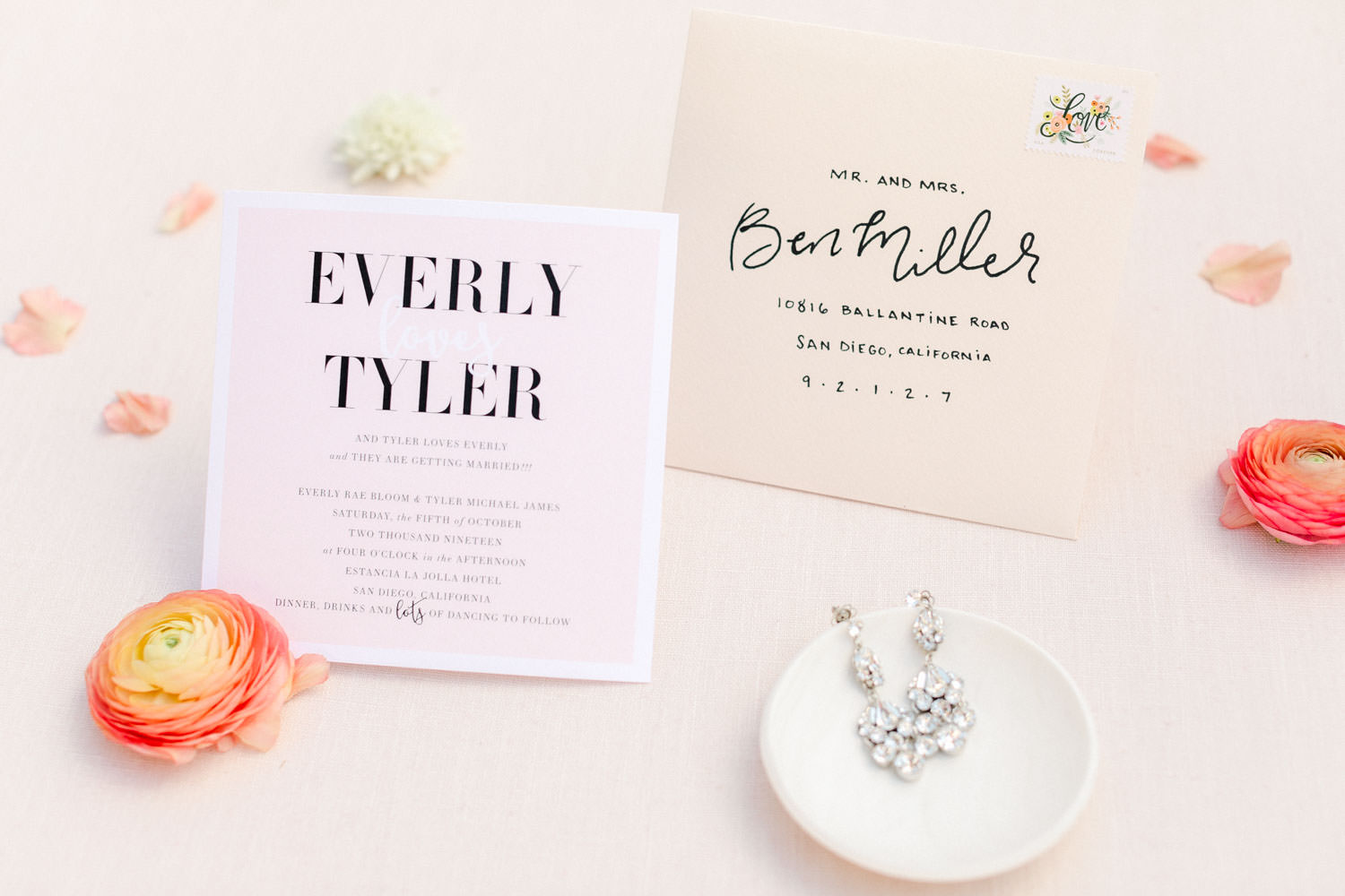 Pink and ivory modern wedding invitation suite with bold fonts and name calligraphy on envelope, Wedding at Estancia La Jolla