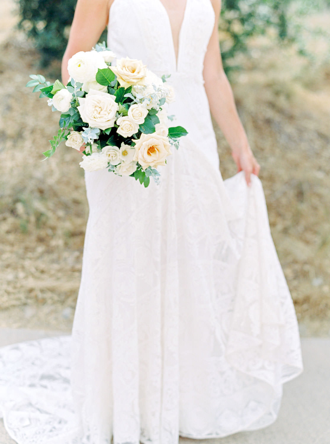 Bridal bouquet with white peach blue and green, Cavin Elizabeth Photography film