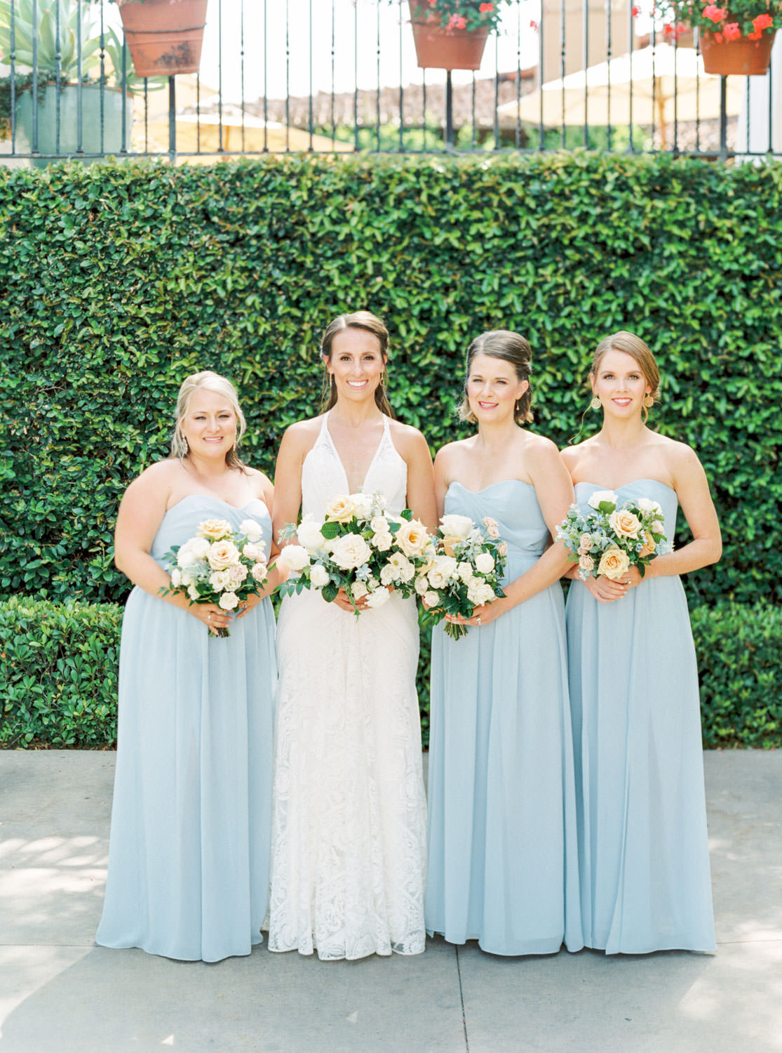 Blue bridesmaid dresses, Bridal party portrait in a Rue de Seine gown, White green and blue wedding at the Santaluz Club, Cavin Elizabeth Photography