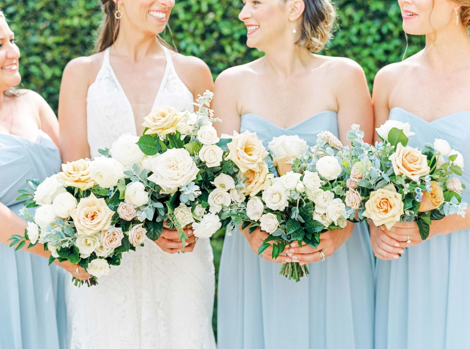 Bouquet with peach blue green and white, Blue bridesmaid dresses, Bridal party portrait in a Rue de Seine gown, White green and blue wedding at the Santaluz Club, Cavin Elizabeth Photography