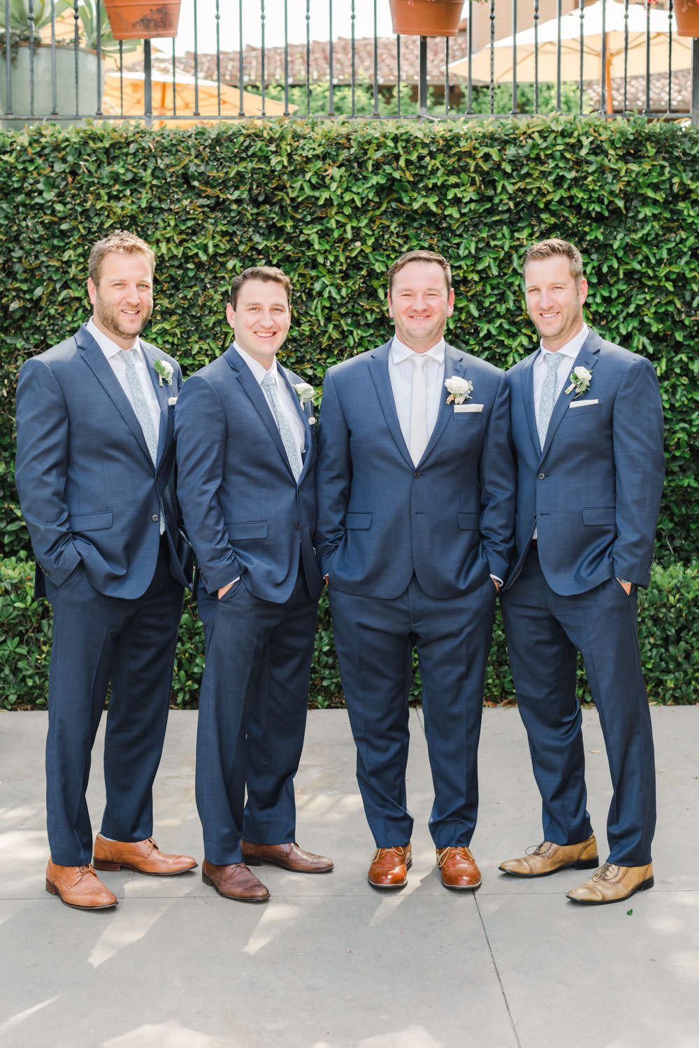 Navy suits for groomsmen, White green and blue wedding at the Santaluz Club, Cavin Elizabeth Photography