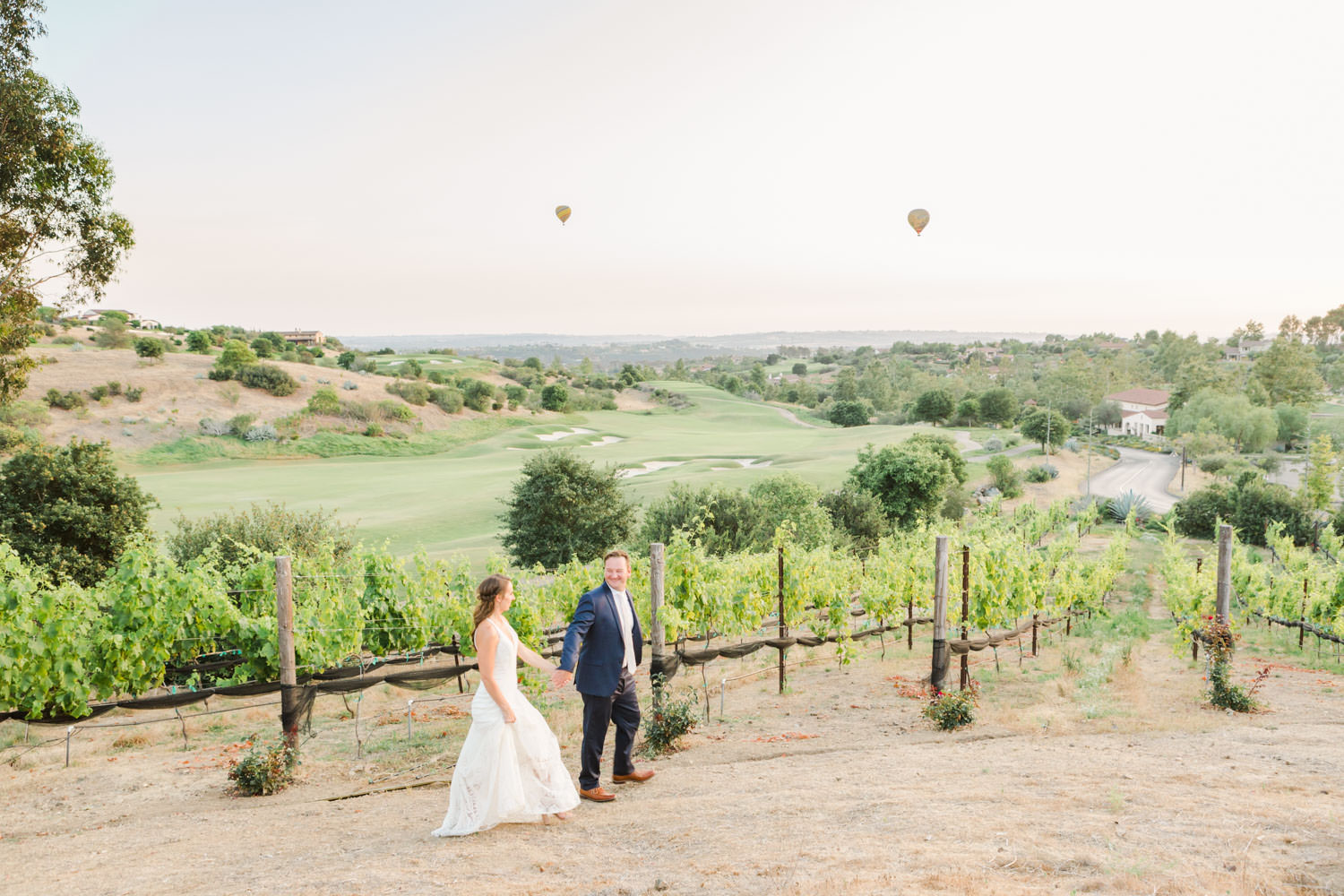 Bride and groom portrait in a Rue de Seine gown, White green and blue wedding at the Santaluz Club, Cavin Elizabeth Photography