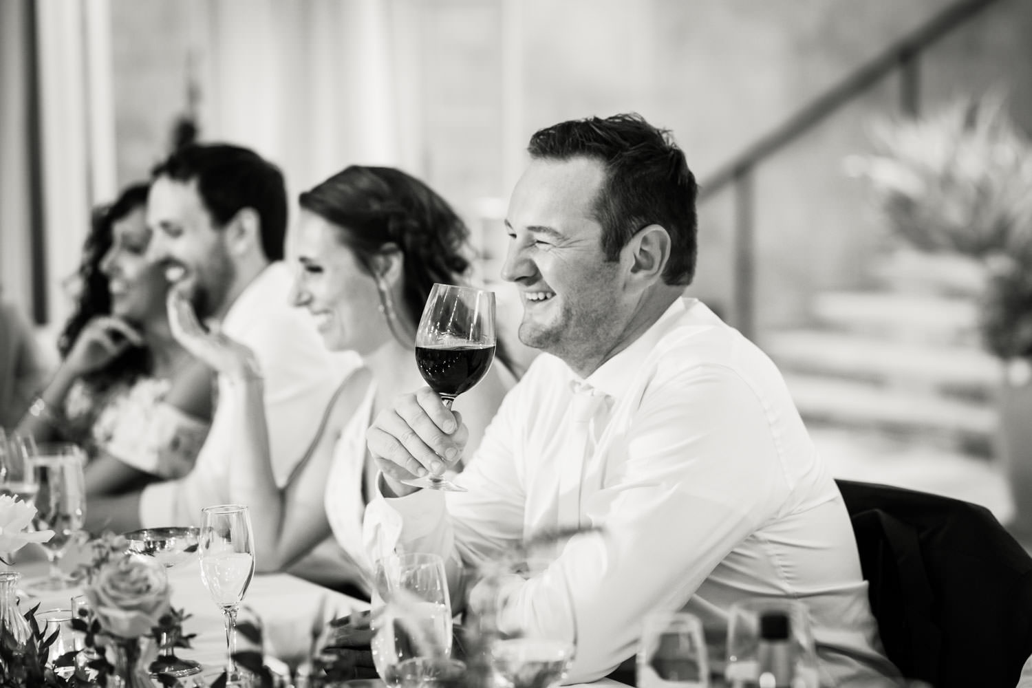 Bride and groom toasts at Santaluz Club, Cavin Elizabeth Photography