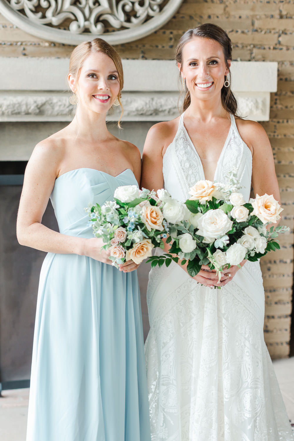 Bridesmaid in blue and bride in a Rue de Seine gown, White green and blue wedding at the Santaluz Club, Cavin Elizabeth Photography