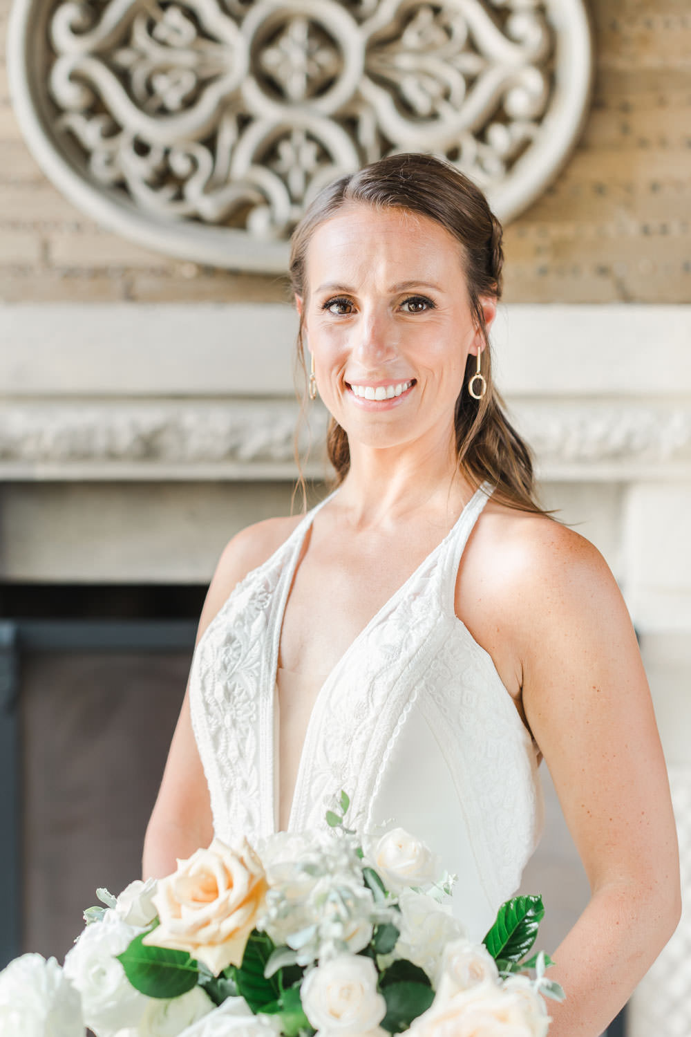 Bridal portrait in a Rue de Seine gown, White green and blue wedding at the Santaluz Club, Cavin Elizabeth Photography