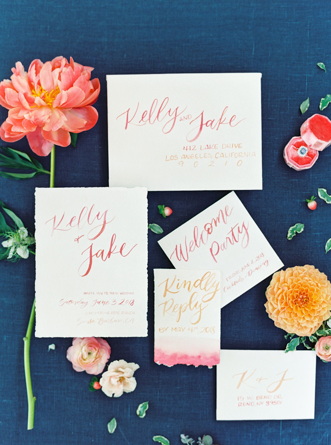 White invitation suite with pink and yellow watercolor calligraphy shot on film, Cavin Elizabeth Photography