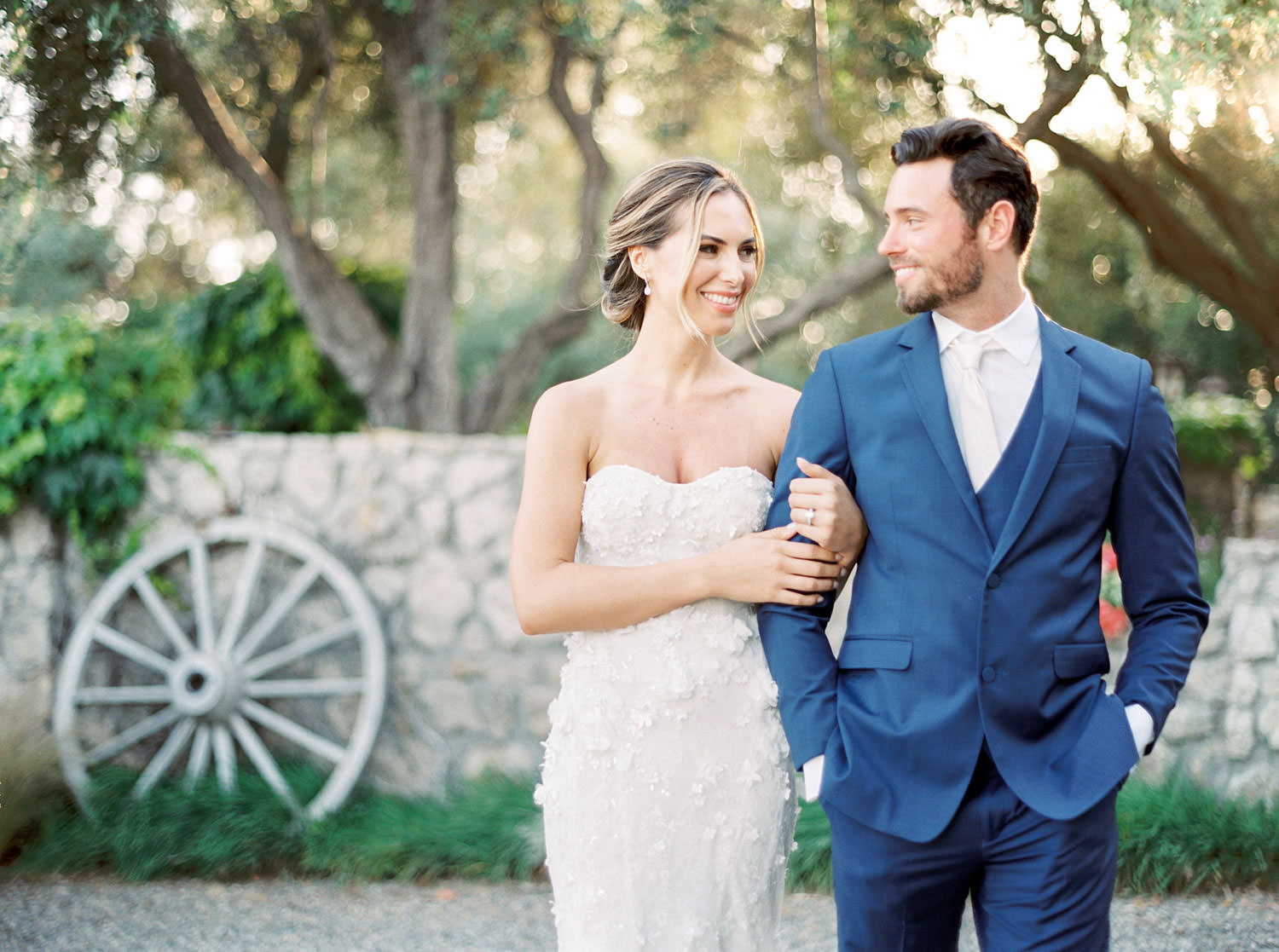 Bride and groom at Whispering Rose Ranch wedding with Marchesa gown shot on film, Cavin Elizabeth Photography