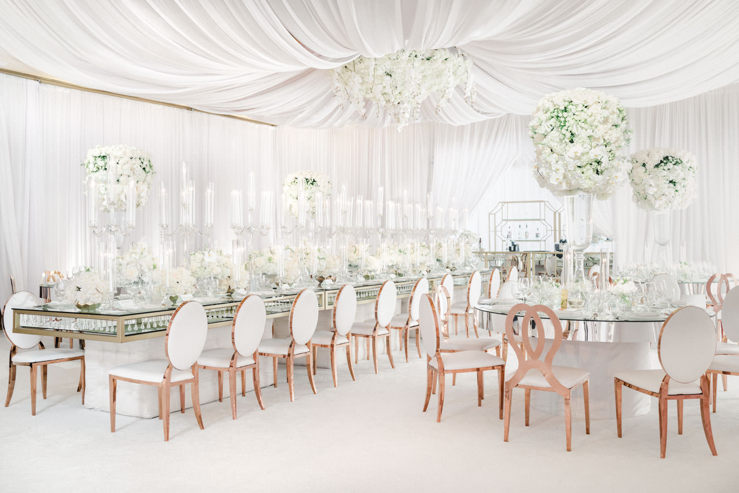White reception with white draping and carpet ceremony Pelican Hill Wedding - Cavin Elizabeth Photography