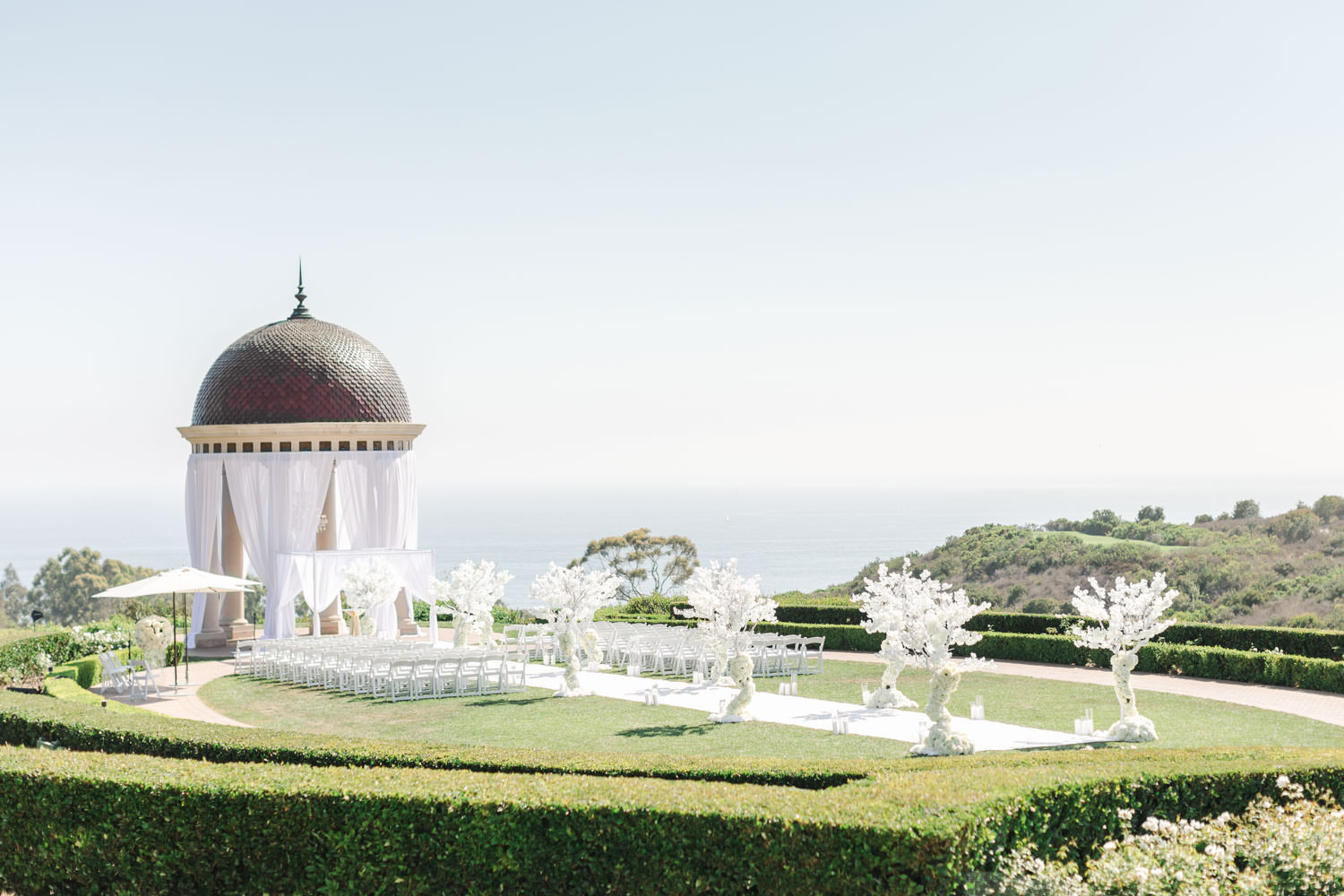 White tree and carpet ceremony Pelican Hill Wedding - Cavin Elizabeth Photography