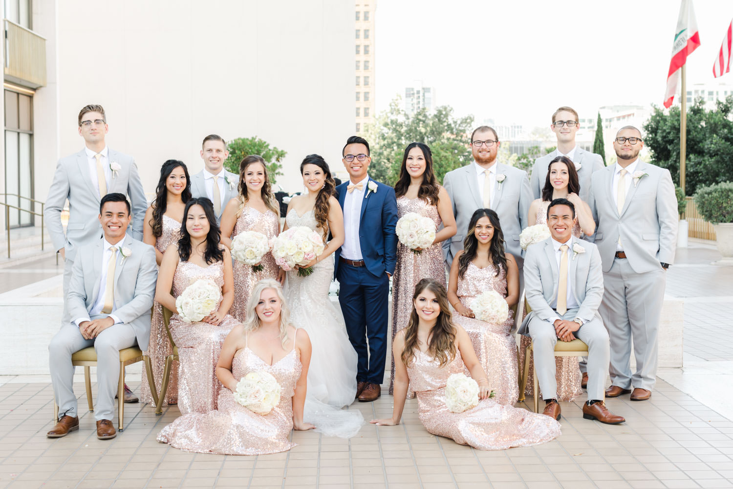 Bridal party portrait with chairs, Westgate Hotel Wedding in Downtown San Diego, Cavin ELizabeth Photography