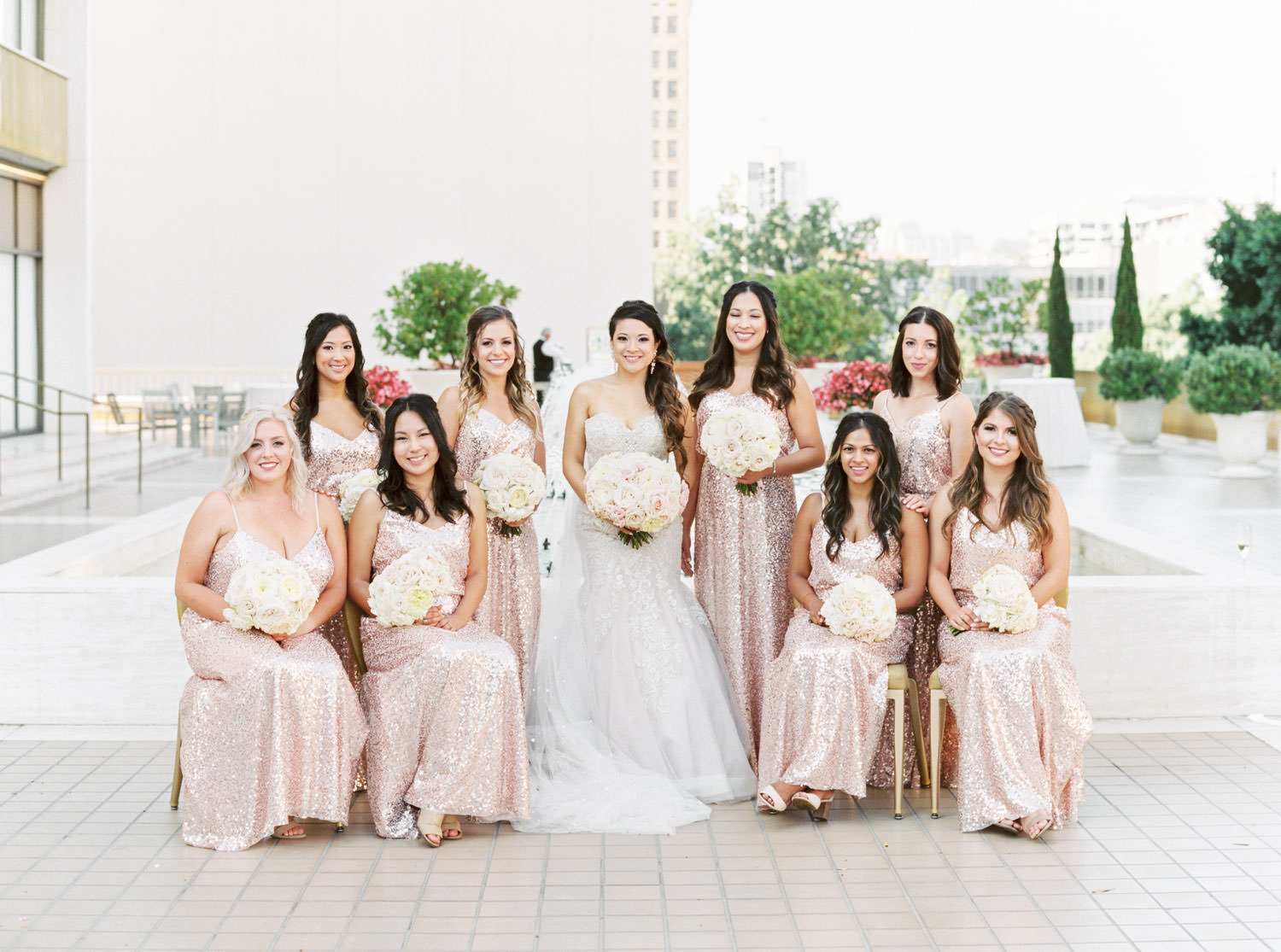 Bridal party portrait with chairs, Westgate Hotel Wedding in Downtown San Diego, film by Cavin Elizabeth Photography