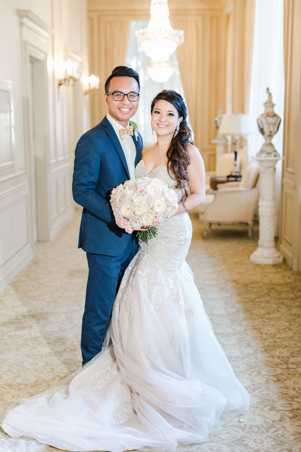 Bride and groom portrait in the hallway at Elegant Westgate Hotel Wedding in Downtown San Diego, Cavin Elizabeth Photography